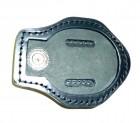 Kožené pouzdro na odznak se sponou na opasek - z druhé strany