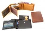 Pánská kožená korunovka, 2 přihrádky na bankovky, kapsa na mince, 7 kapes na kreditní karty, 4 průhledné, 2 boční a jedna vnitřní zipová kapsa, kapsy velikosti osobní doklady
