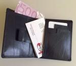 Kožené pouzdro na vizitky a karty s poutkem na vytažení